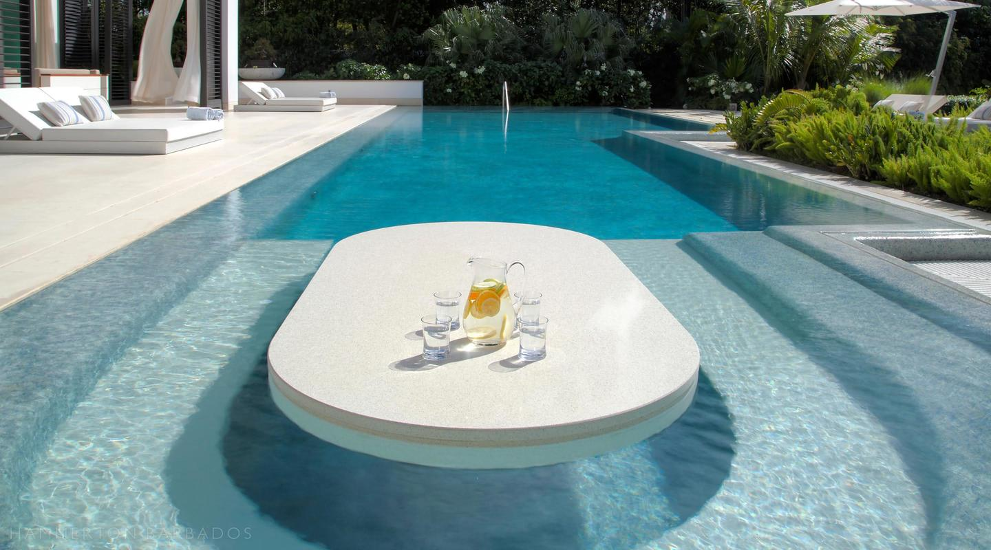 Swimming pool dining table