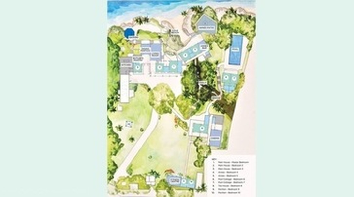 Crystal Springs Villa Illustrated Map in a Water Colour Style and Key