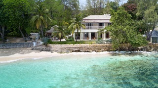 Hemingway House and beach viewed from the Caribbean sea