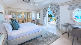 Kiko Villa modern Master Bedroom with ocean view through windows and from balcony